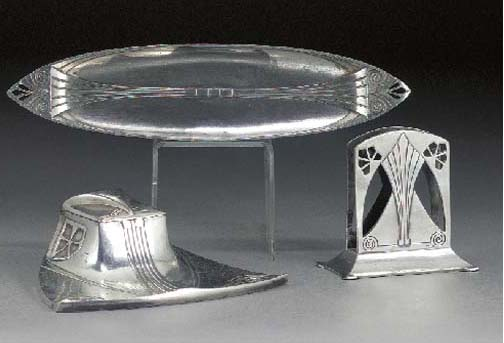 A WMF silvered metal desk set