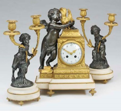 A French bronze, ormolu and wh