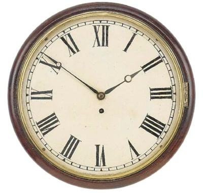 An English mahogany dial clock