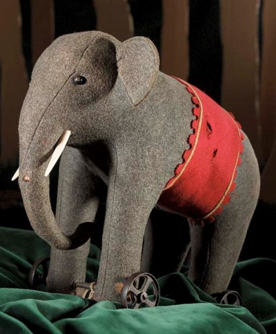 An early Steiff elephant on wh