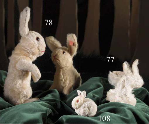 A Steiff rabbit with rotating