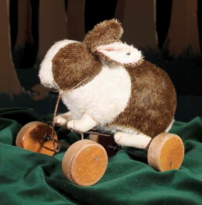 A rare Steiff rabbit on wheels