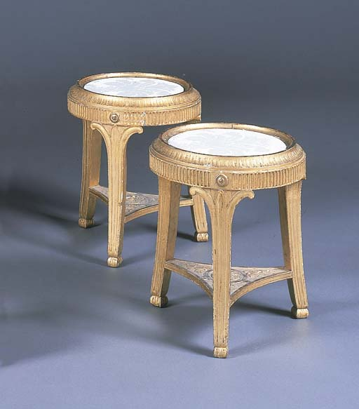 A PAIR OF GILTWOOD URN STANDS