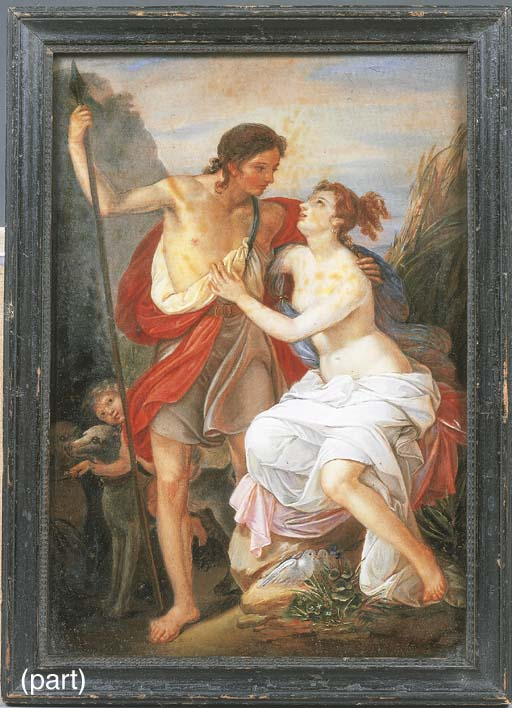A reverse glass painting of a
