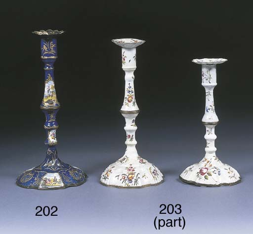 Four various enamel candlestic