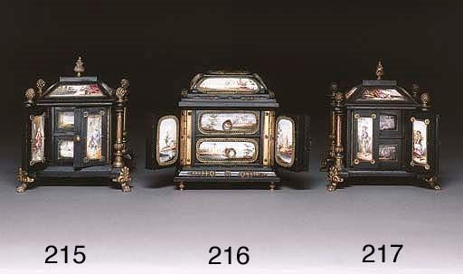 A gilt metal mounted ebonised