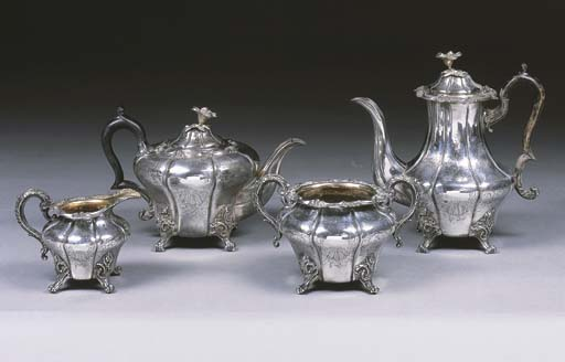 A Four-Piece Victorian Silver
