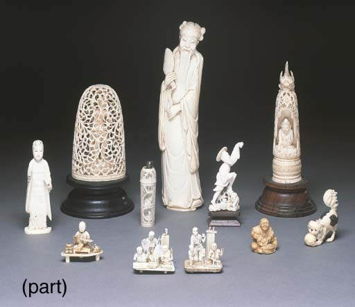 A Chinese ivory carving of a b