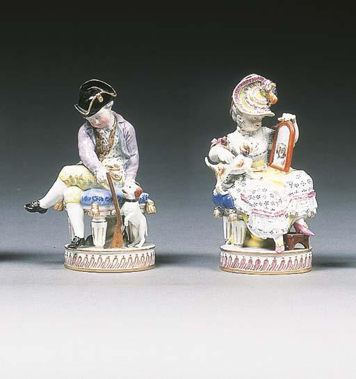 A pair of Meissen figures of c