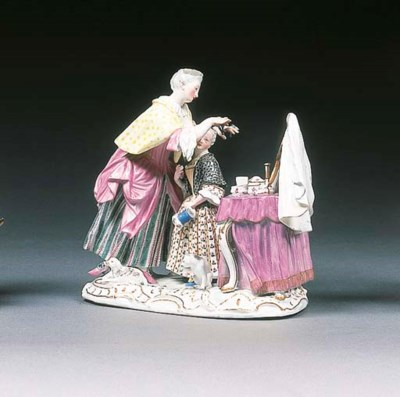 A Meissen dressing-table group