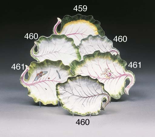 Two Chelsea leaf dishes
