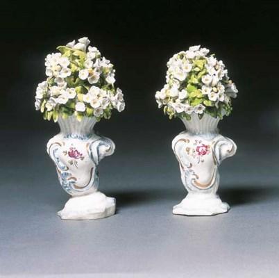 Two Derby rococo scroll-moulde