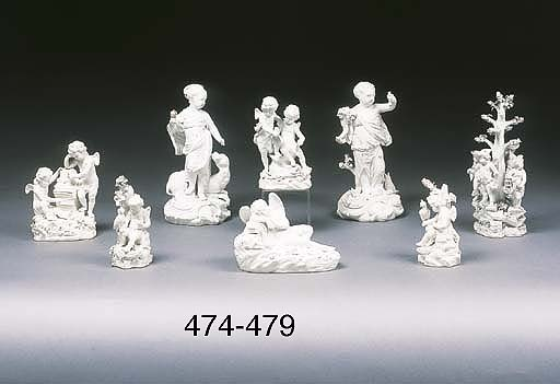 Two Derby white biscuit figure
