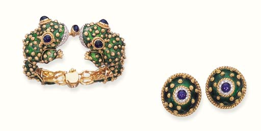 A SET OF ENAMEL, SAPPHIRE AND