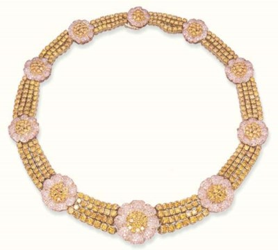 A YELLOW AND PINK DIAMOND NECK