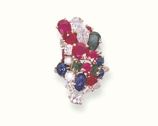 A MULTI-GEM CLUSTER RING, BY C