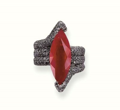 A RUBY AND BLACK DIAMOND RING,