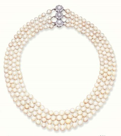A FOUR-STRAND PEARL NECKLACE