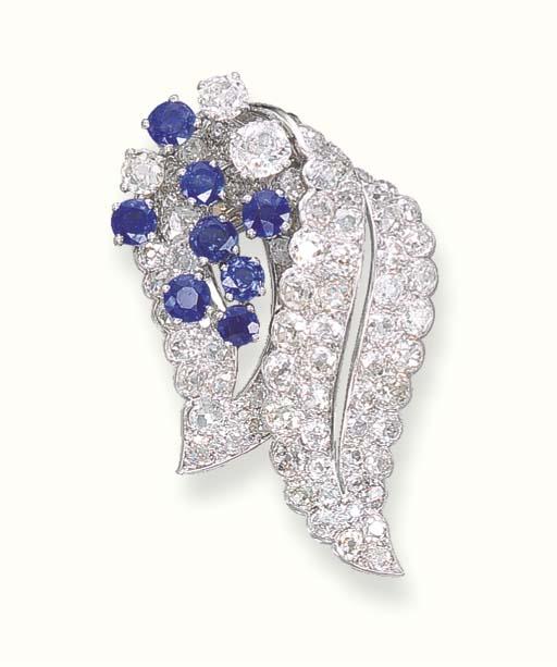 A DIAMOND AND SAPPHIRE CLIP