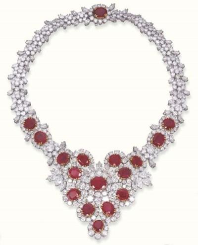 AN IMPRESSIVE RUBY AND DIAMOND