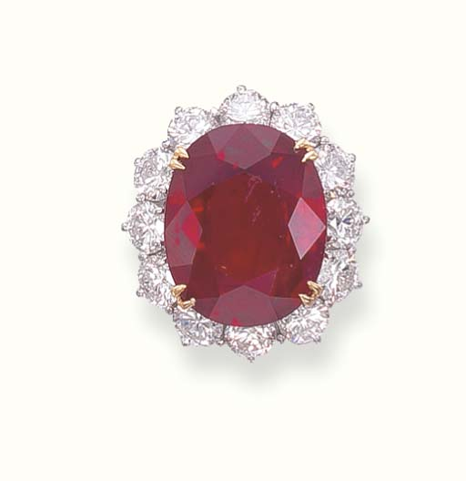 AN IMPRESSIVE RUBY AND DIAMOND