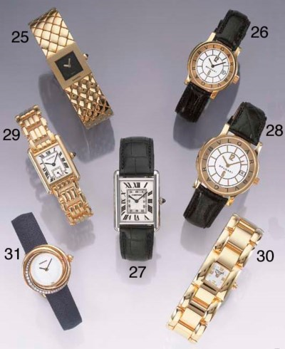 CARTIER. A LADY'S 18CT TRI-COL
