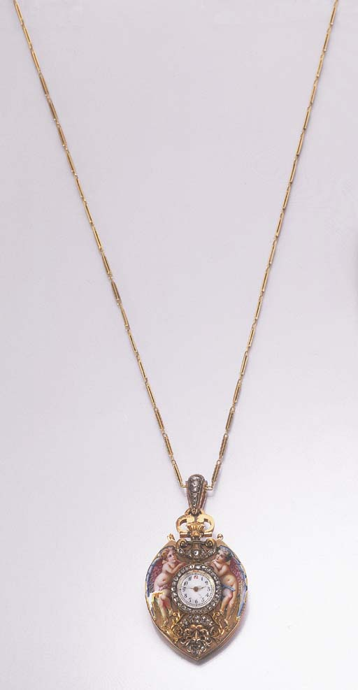 A YELLOW GOLD DIAMOND AND ENAM