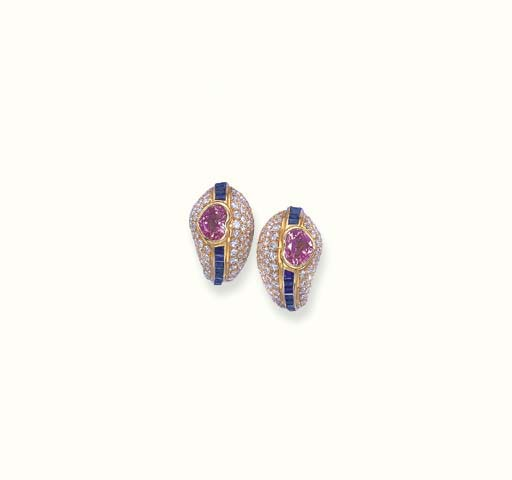 A PAIR OF SAPPHIRE, PINK SAPPH