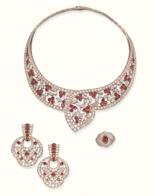 """A SUITE OF RUBY AND DIAMOND """"COQUELICOT"""" JEWELLERY, BY BOUCHERON"""