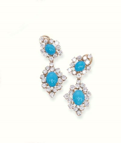 A PAIR OF TURQUOISE AND DIAMON