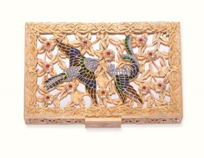 A GOLD, ENAMEL, DIAMOND AND RU