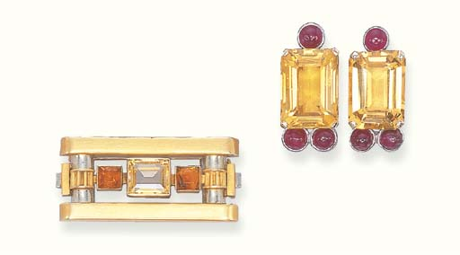 A GROUP OF CITRINE JEWELLERY