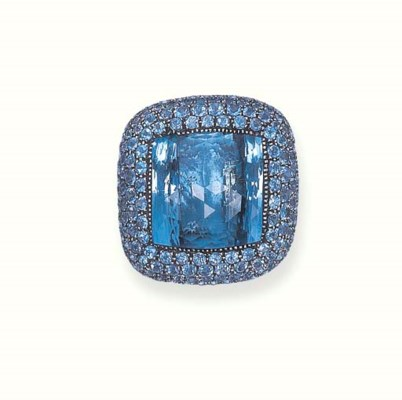AN AQUAMARINE RING, BY MICHELE