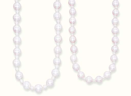 TWO CULTURED PEARL NECKLACES,