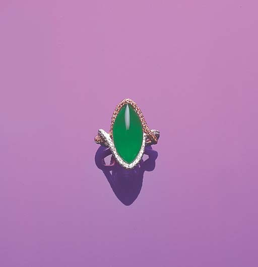 A NAVETTE-SHAPED JADEITE AND DIAMOND RING