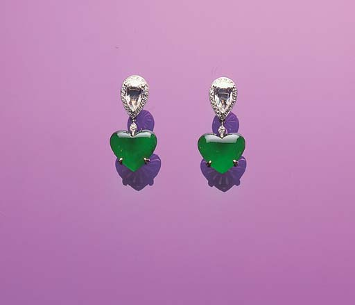 A PAIR OF HEART-SHAPED JADEITE AND DIAMOND EAR-PENDANTS