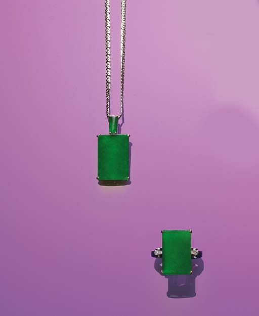 A SET OF RECTANGULAR JADEITE AND DIAMOND JEWELLERY