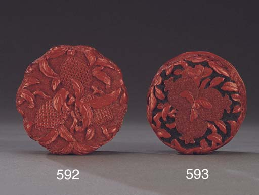 A CARVED CINNABAR LACQUER FLOR