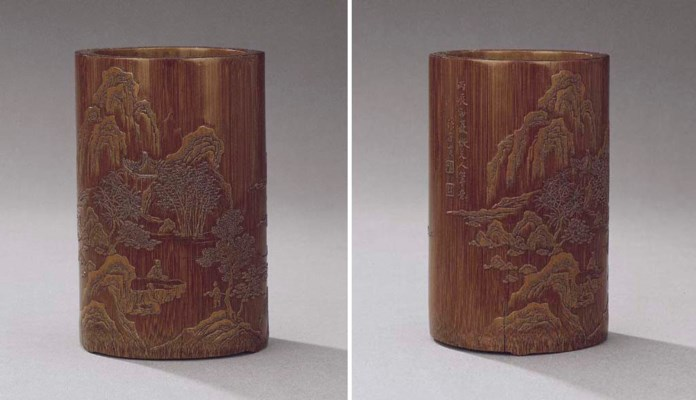 A VERY FINE CARVED BRUSHPOT