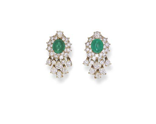A PAIR OF CABOCHON EMERALD AND