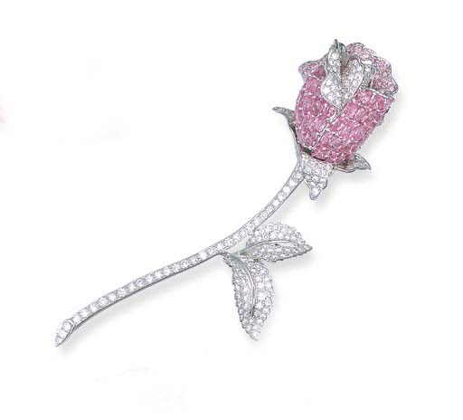 A PINK SAPPHIRE AND DIAMOND RO