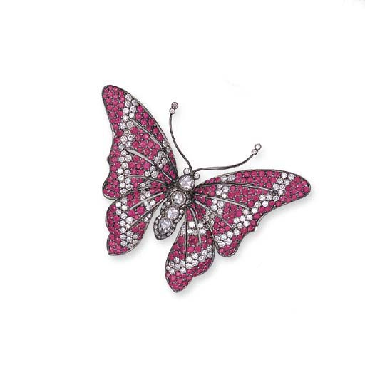 A RUBY AND DIAMOND BUTTERFLY B