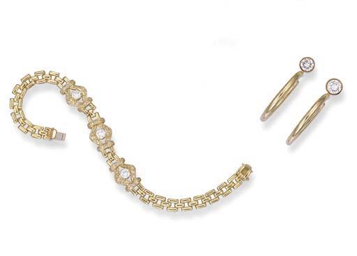 A GOLD AND DIAMOND BRACELET AN