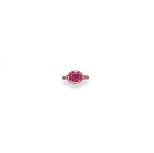A RUBY AND PINK SAPPHIRE RING