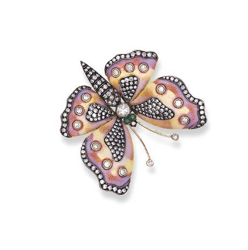 A DIAMOND AND ENAMEL BUTTERFLY