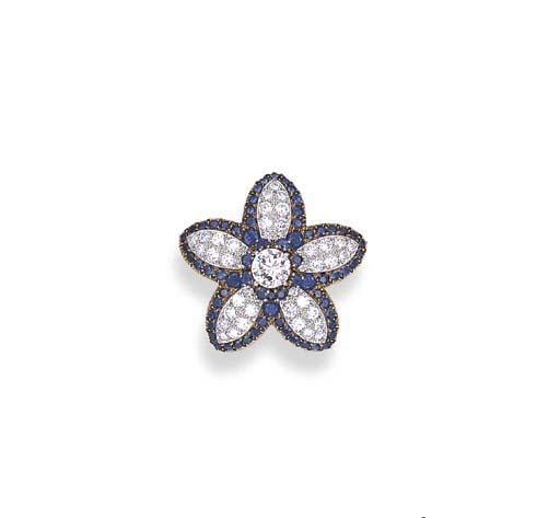 A DIAMOND AND SAPPHIRE FLOWERH