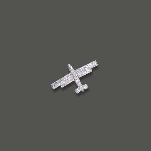 A DIAMOND AEROPLANE BROOCH