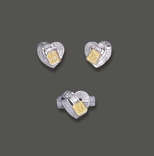 A SET OF YELLOW DIAMOND AND DI