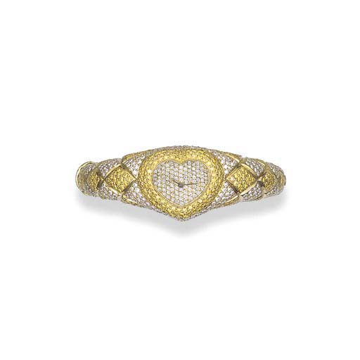 A LADY'S 18K GOLD, DIAMOND AND