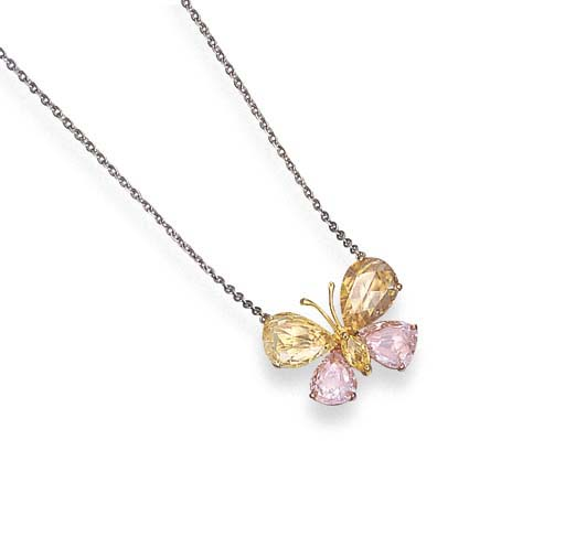 A COLOURED DIAMOND BUTTERFLY P